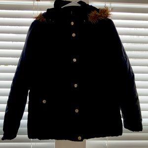 Black Hooded Winter Coat